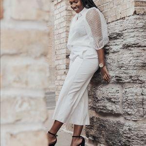 Zara Semi-Sheer Swiss Dot Blouse